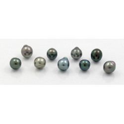 set of  9 semi-baroque pearls of Tahiti