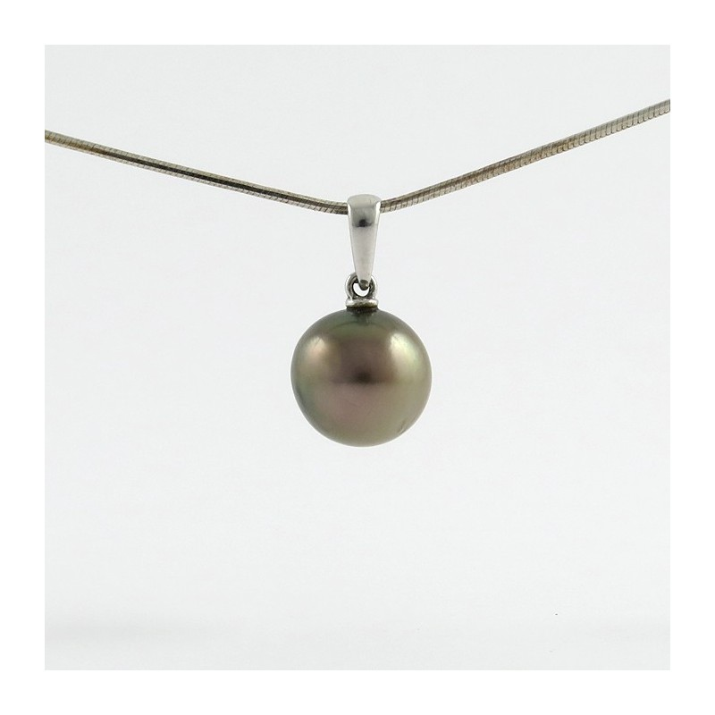 Pendant with 1 round pearl of tahiti 108 mm grade b nice luster 1 golden pink pearl of tahiti on a white gold pendant aloadofball Image collections