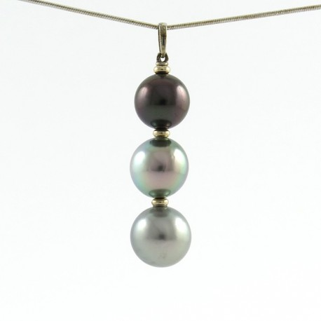Pendants with 3 tahitian pearls grade b 11mm dark egg plant 122 3 pearls pendant aloadofball Image collections