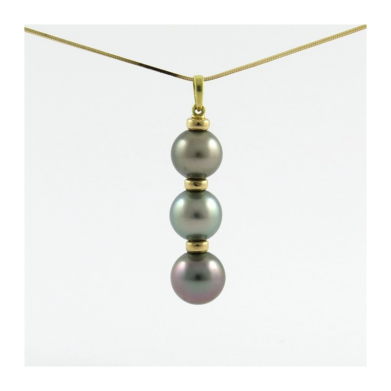 Pendant with 3 round pearls in vertical grade b mainly colours 3 round pearls of tahiti pendant aloadofball