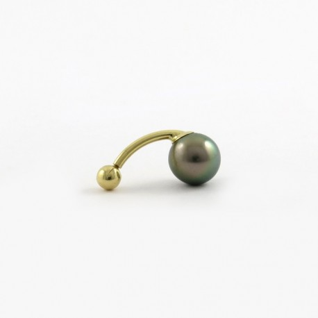 Piercing in gold with one round pearl of Tahiti