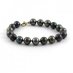 Bracelet with 18 dark multicolor Tahitian round pearls