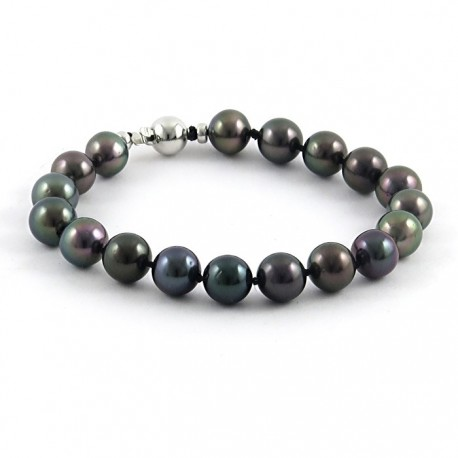 Bracelet with dark multicolor Tahitian round pearls