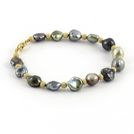 Bracelet with Tahitian keshis and gold spacers