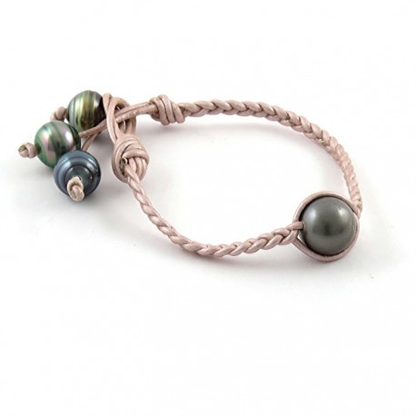 Bracelet leather lace 4 pearls