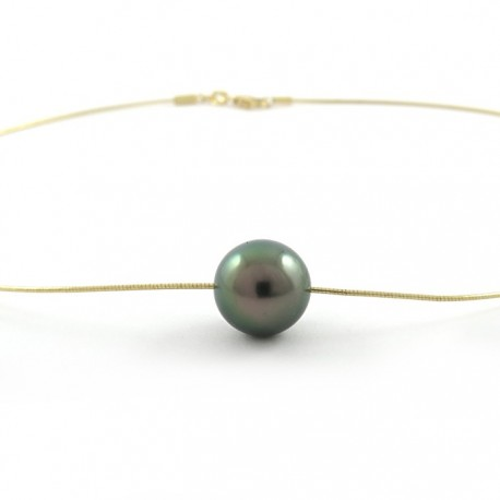 Collier chaine omega avec 1 perle ronde