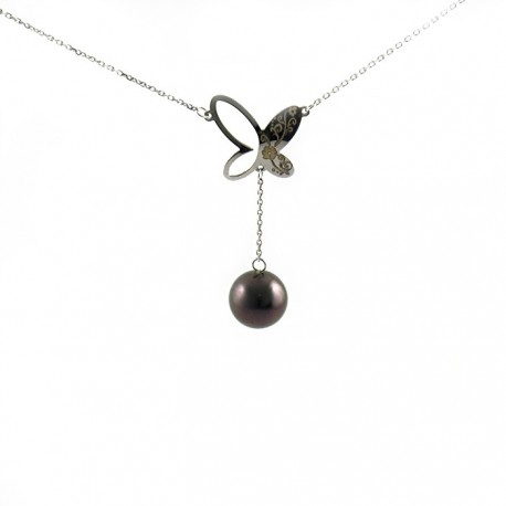 Necklace silver 1 pearl on chain