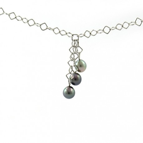 Necklace 3 pearls silver chain