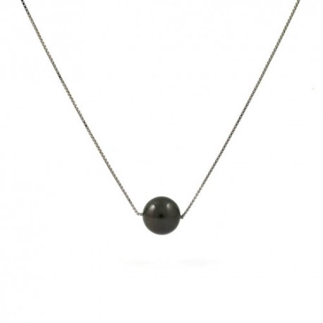 Adjustable necklace with a black pearl