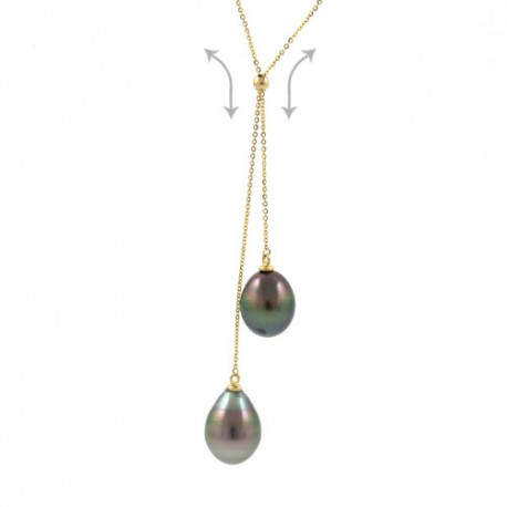 """You and Me"" necklace with tear-drop-shaped pearls"