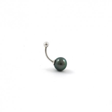 Belly button piercing with a green pearl