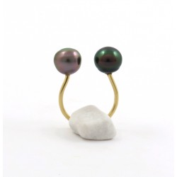 """Invisible"" ring with 2 pearls"