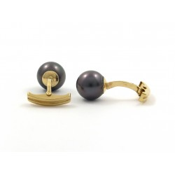 Cufflinks with tahitian pearls, peacock color