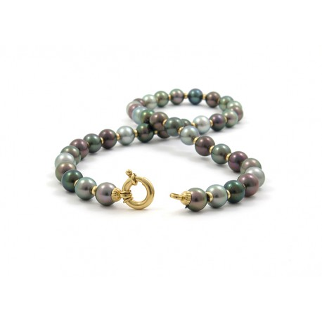 Multicolored Pearls and gold strand