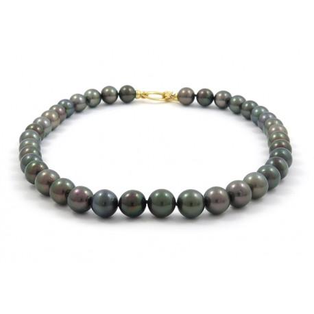 Midnight green pearl necklace