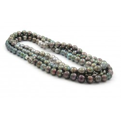 Multi Colored pearls in drop-cercle on necklace
