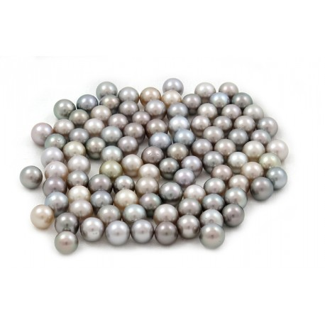 100 black Tahitian pearls round 9 mm B grade (AA in GIA) silver