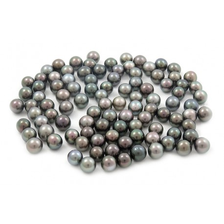 100 Tahitian pearls, round 9 mm C grade (A+ in GIA) multicolor