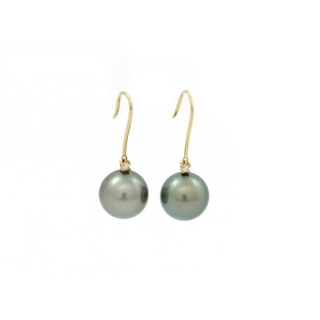 18ct yellow gold earrings with 2 pearls