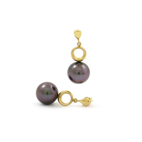 Yellow gold earrings with 2 beautiful pearls