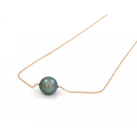 Solitaire tahitian pearl on rose gold chain